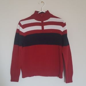 Tommy Hilfiger Red, Black, and White Sweater